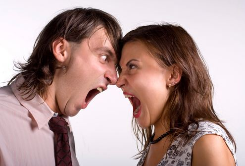 men and women fighting